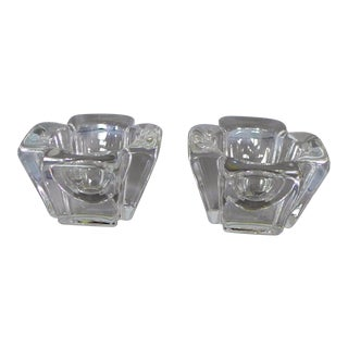 Orrefors Crystal Candleholders - Set of 2 For Sale