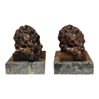 19th Century French Bronze Lions on Marble Bases Signed J. Moigniez - a Pair For Sale