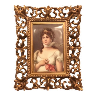 "Antique 19th Century Porcelain Portrait of Royal Bavarian Princess Queen Consort ""Louise of Germany,"" 1823-1884."