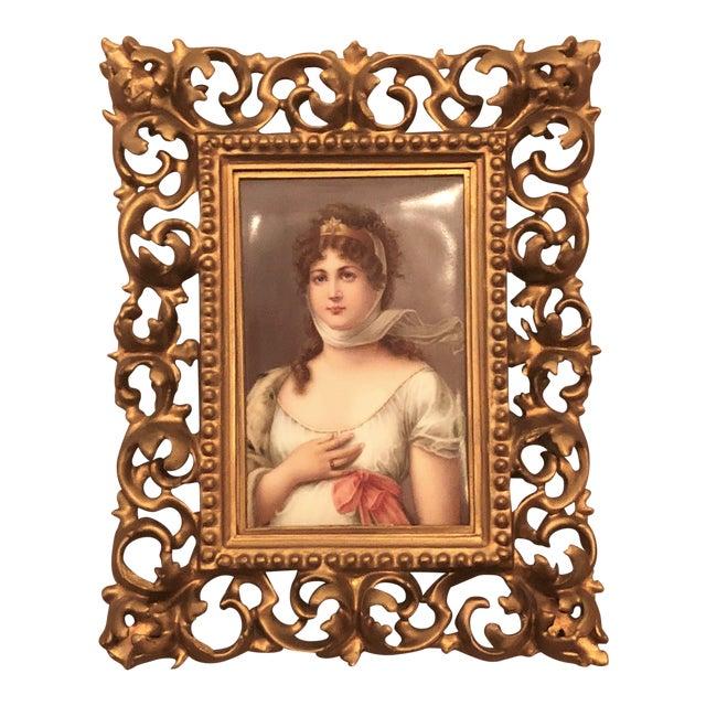 "Antique 19th Century Porcelain Portrait of Royal Bavarian Princess Queen Consort ""Louise of Germany,"" 1823-1884. For Sale"