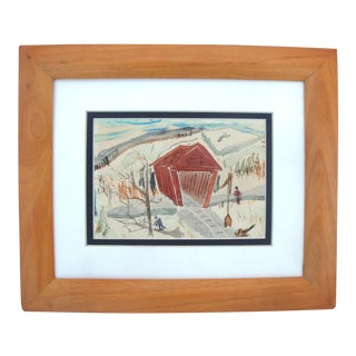 Red Covered Bridge Mid-Century Snowscape Watercolor Painting For Sale