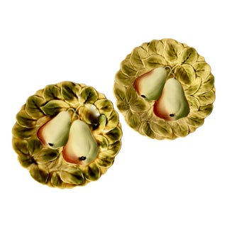 Antique Sarreguemines French Fruit Plates-A Pair For Sale