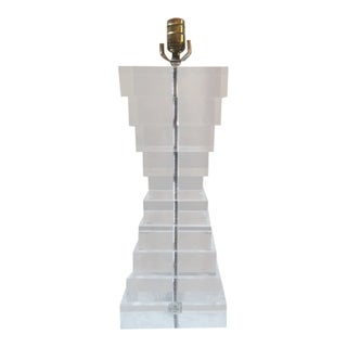 1980s Vintage Lucite Table Lamp For Sale