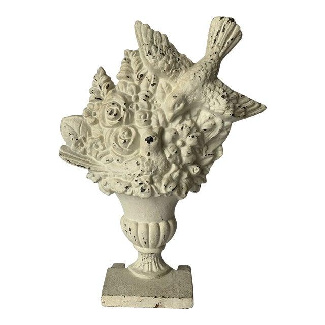 Cast Iron Bird & Floral Bouquet Doorstop For Sale