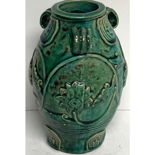 Chinese Green Glazed Lotus Motif Vase For Sale In West Palm - Image 6 of 10