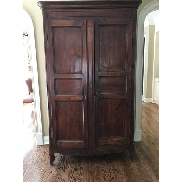 Antique French Pine Armoire with recess panel doors and sides. Hardware original. Circa 1850