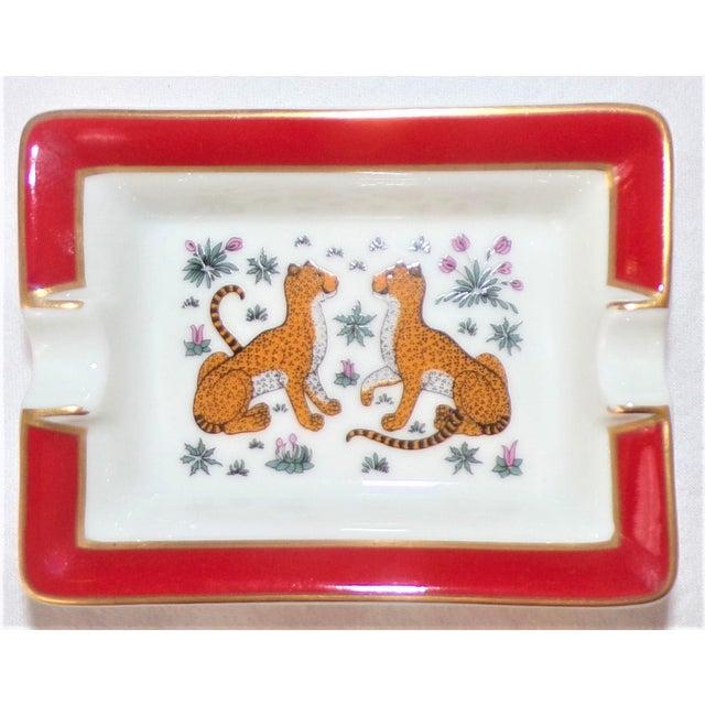White Vintage Hermes Porcelain Les Leopards Ashtray / Catchall For Sale - Image 8 of 8