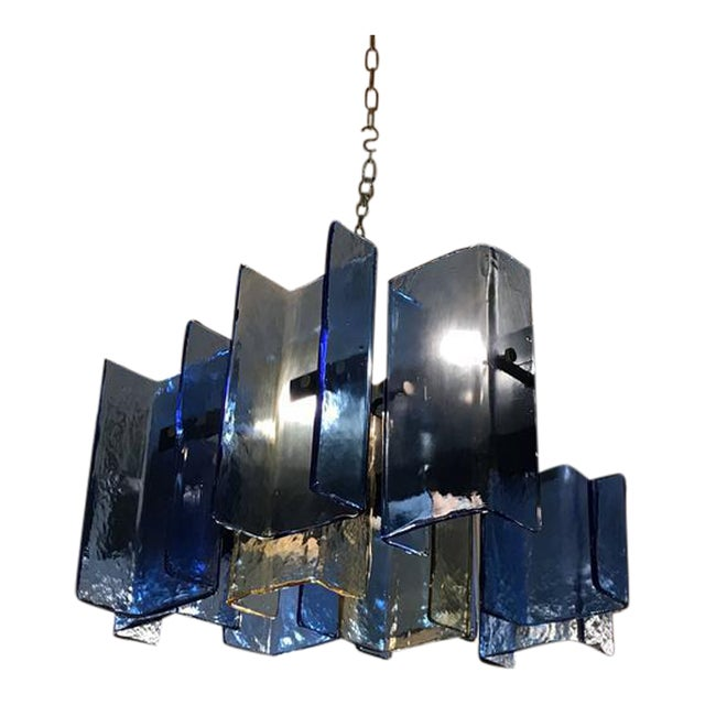Italian Blue Glass Panel Chandelier Image 1 Of 5