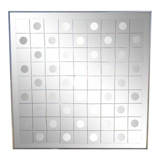 Hal Bienenfeld Op Art Circle Within Squares Mirror For Sale