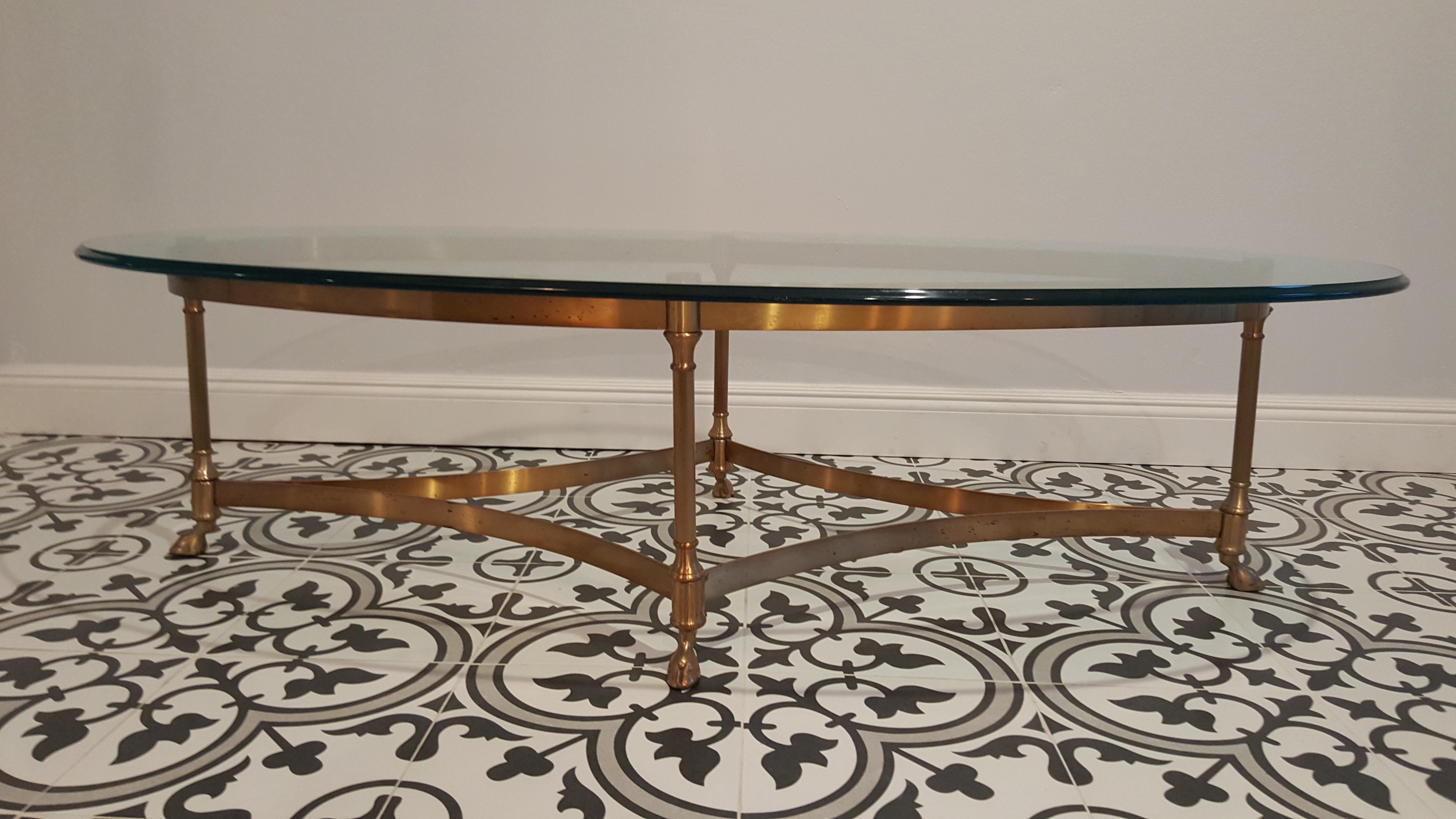 Vintage LaBarge Hollywood Regency Brass Coffee Table   Image 2 Of 11