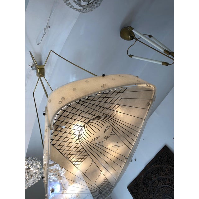 Metal Beautiful Midcentury Chandelier With Handmade Shades For Sale - Image 7 of 12