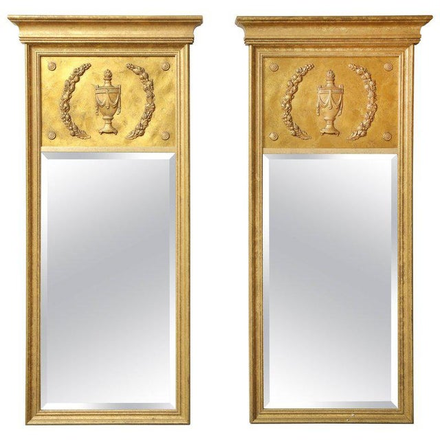 Gold 1970s Vintage Giltwood Neoclassical Style Mirrors- A Pair For Sale - Image 8 of 8