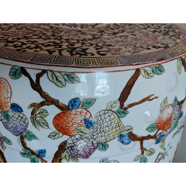 Black 1980s Chinese Bird and Floral Detailed Enameled Porcelain Garden Stool For Sale - Image 8 of 12