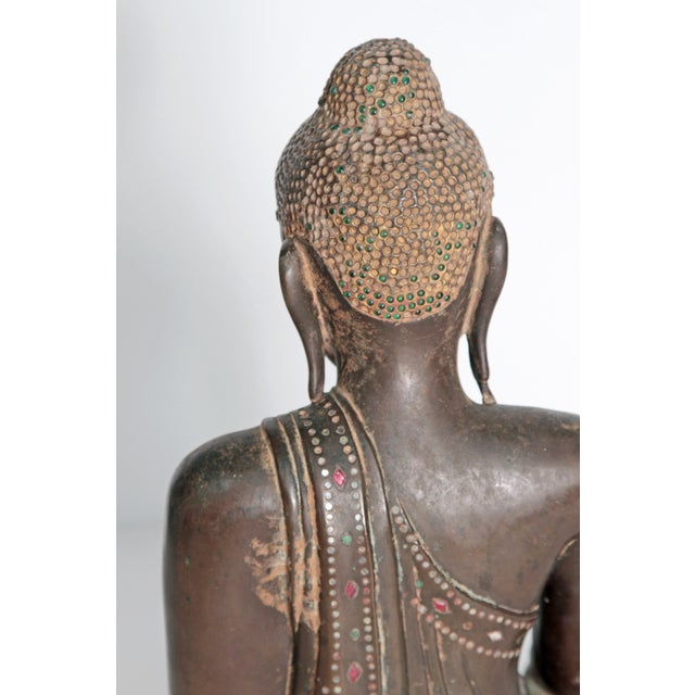 Mid 19th Century 19th Century Patinated and Gilt Bronze Burmese Buddha For Sale - Image 5 of 11