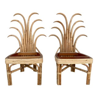 Palm Frond Dining Chairs - a Pair For Sale