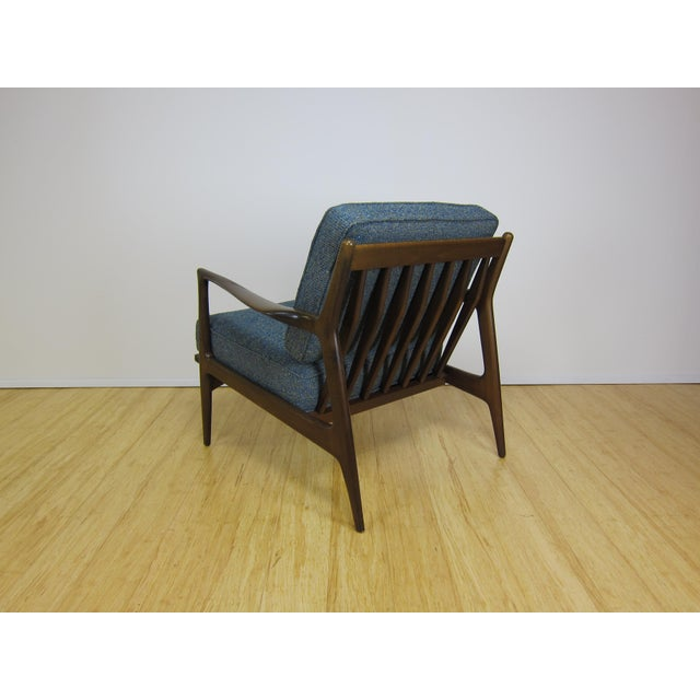 Textile 1960s Mid-Century Modern Ib Kofod Larsen for Selig Walnut Lounge Chair For Sale - Image 7 of 11