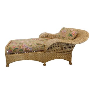 Gold Label McGuire Woven Rattan Chaise Lounge For Sale