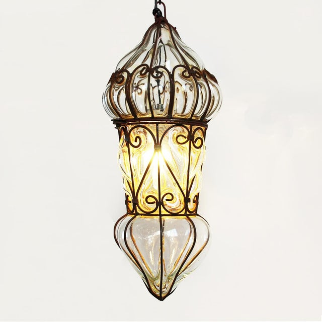 Small Venetian Glass & Iron Lantern Light Fixture - Image 2 of 3