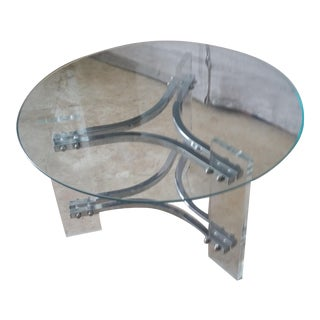 Mid-Century Modern Charles Hollis Jones Lucite Small Chrome & Glass Coffee Table For Sale