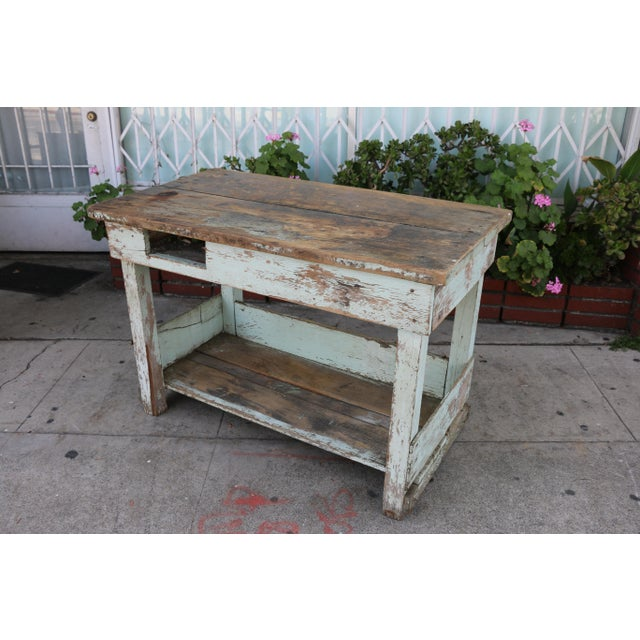 1950s 1950s Rustic Distressed Farm Table For Sale - Image 5 of 10