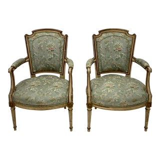 Pair of Early French Louis XV Style Bergere Chairs For Sale