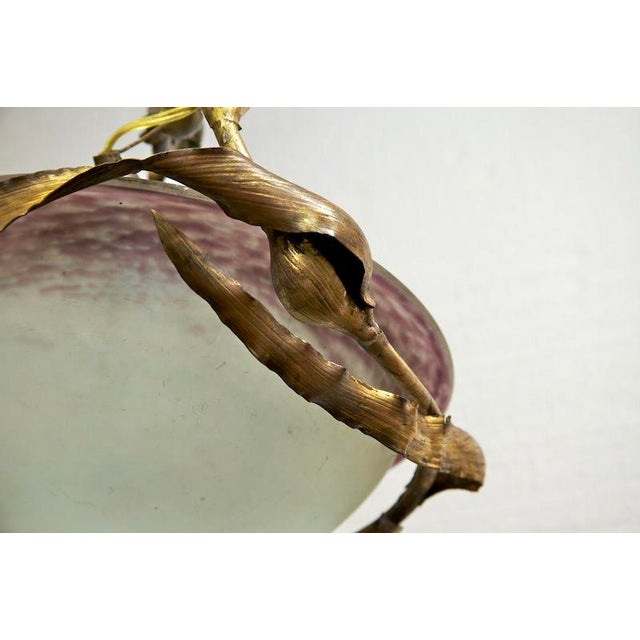 French Art Nouveau Brass and Art Glass Hanging Light Fixture For Sale - Image 4 of 6