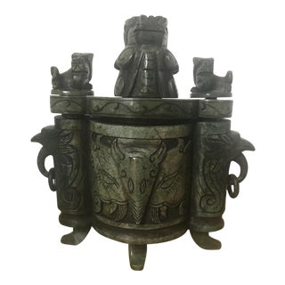 Vintage Green Marble Ethnic Vessel