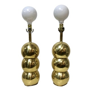 George Kovacs Style Brass Stacked Ball Lamps - a Pair For Sale