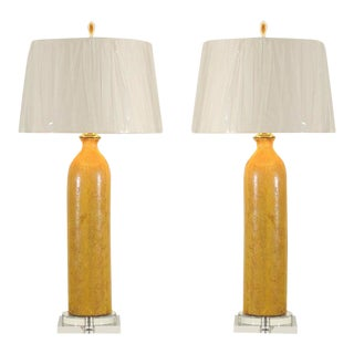 Stellar Restored Pair of Large-Scale Vintage Ceramic Lamps in Yellow Ochre
