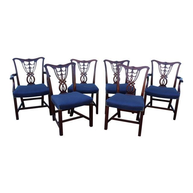 Vintage Mid Century Blue Dining Chairs- Set of 6 For Sale