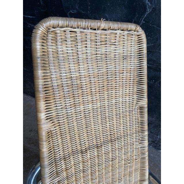 Italian Vintage Woven Chrome & Rattan Italian Rocking Chair For Sale - Image 3 of 12