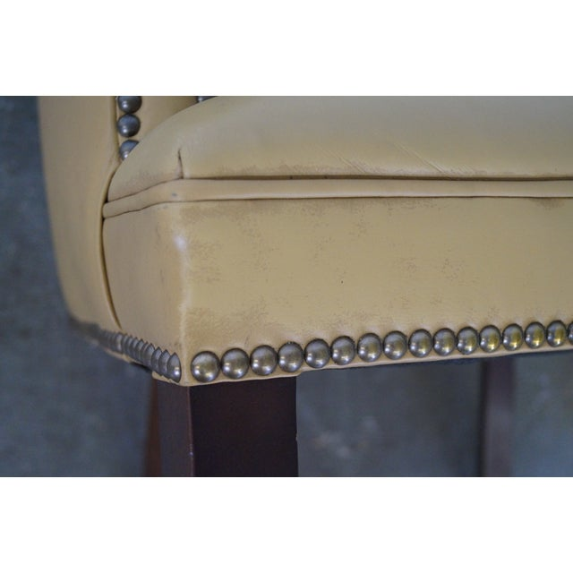 Quality Leather Barrel Back Arm Chairs - Pair - Image 9 of 10