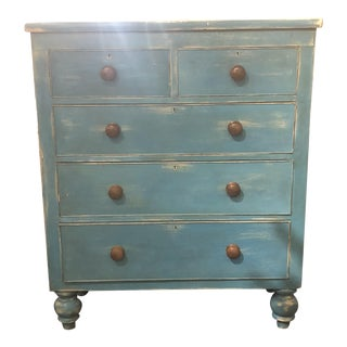 1880 Blue Distressed Painted Chest