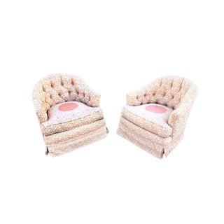 Milo Baughman Style Chinese Modern Motif Swivel Rocking Club Chairs - a Pair