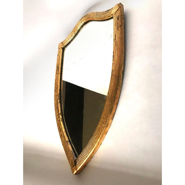 English Traditional Antique English Gilded Shield-Shaped Mirror For Sale - Image 3 of 8