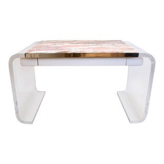 "Lucite and Marble ""Lion in Frost"" Vanity Desk"