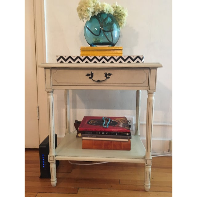 Vintage French White Washed Entry Table - Image 4 of 5