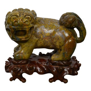 Late 19th Century Chinese Stone Foo Dog on Wooden Stand For Sale