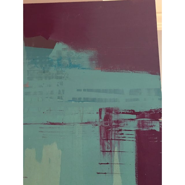 Canvas Original Bob Rankin Large Abstract Teal and Violet Painting For Sale - Image 7 of 8