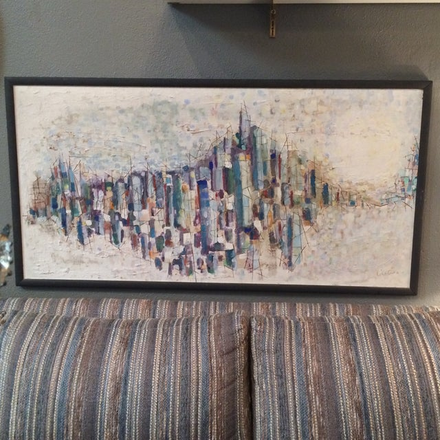 Mid-Century Abstract Cityscape Painting - Image 2 of 9