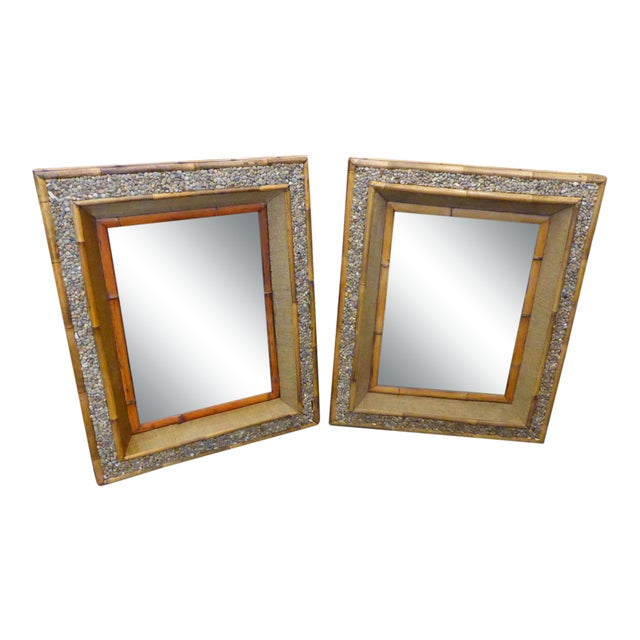Late Mid-Century Hamptons Pebble Mirrors - a Pair For Sale