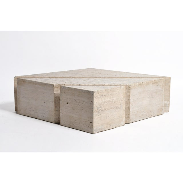 White Italian Travertine Marble Three-Part Polygon Coffee Table For Sale - Image 8 of 13