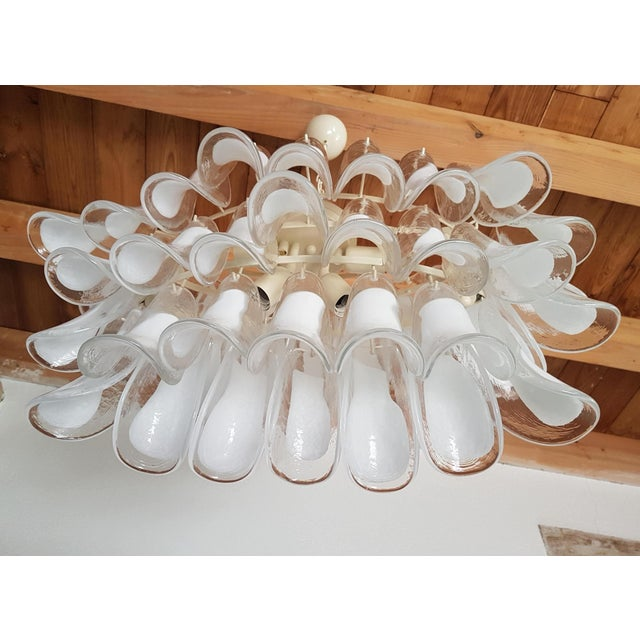 Glass Mazzega Mid-Century Modern White Murano Glass Oval Chandelier -2 Available For Sale - Image 7 of 13