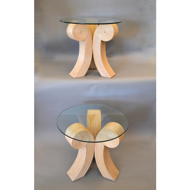 Art Deco Style Rattan Pencil Reed Sculptural End Tables, Side Tables - Pair For Sale - Image 12 of 13