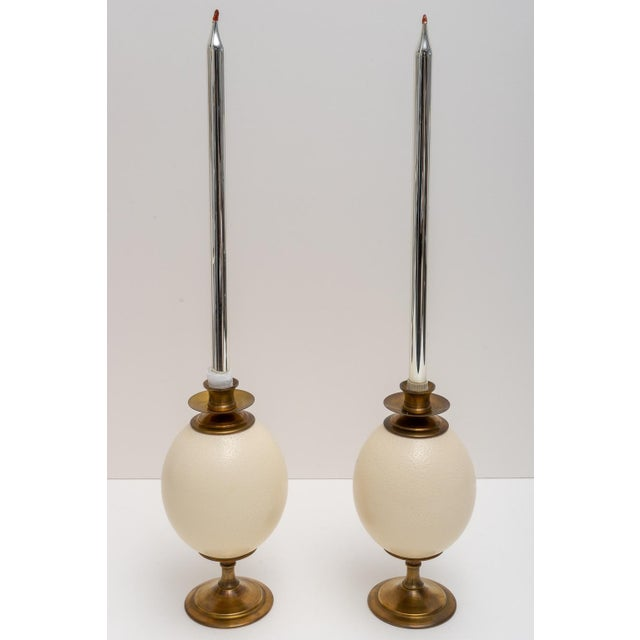 Hollywood Regency Ostrich Egg Candle Holders - a Pair For Sale - Image 3 of 8