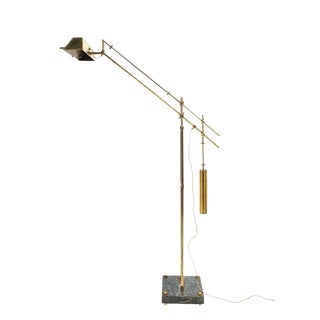 Nautical Brass Counterweight Floor Lamp, 1950 For Sale