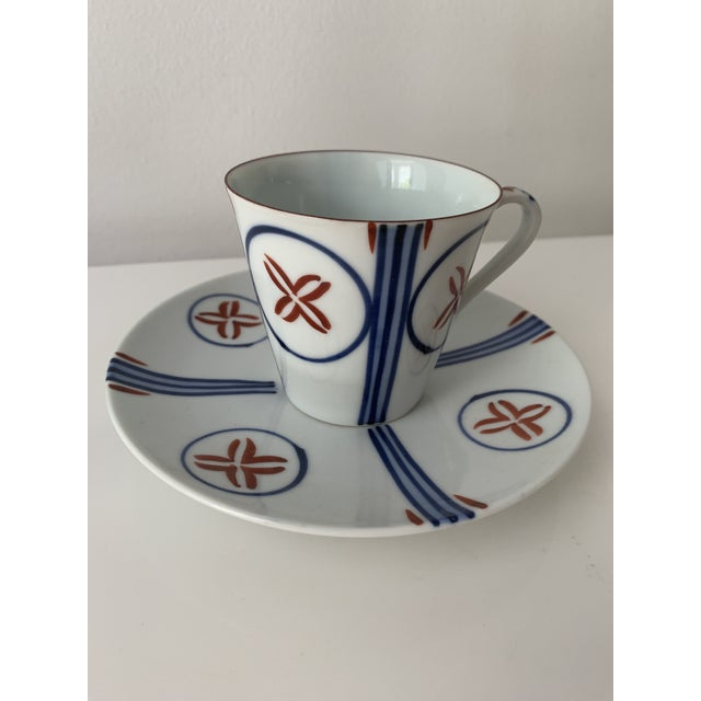 Mid 20th Century Mid Century Japanese Tea Cups and Saucers - Set of 6 For Sale - Image 5 of 13