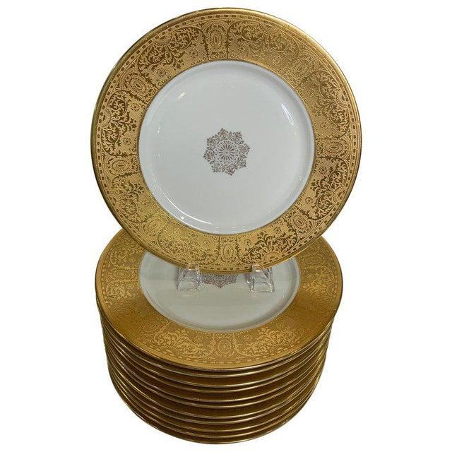 Wide Gold Bordered Service Plates - Set of 12 For Sale - Image 12 of 12