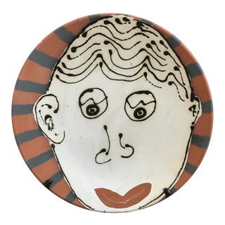 Vintage Abstract Face on Terra Cotta Pottery Platter For Sale