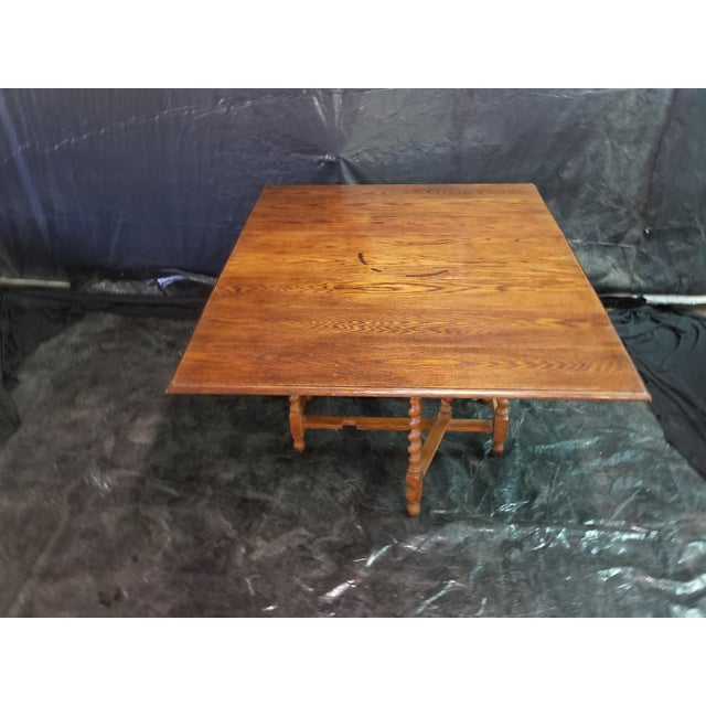 English Traditional English Oak Drop Leaf Table For Sale - Image 3 of 6